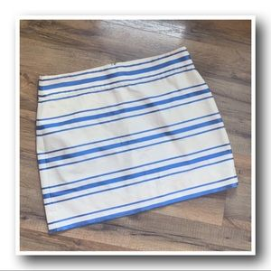 J.Crew Metallic Blue Striped Mini Skirt